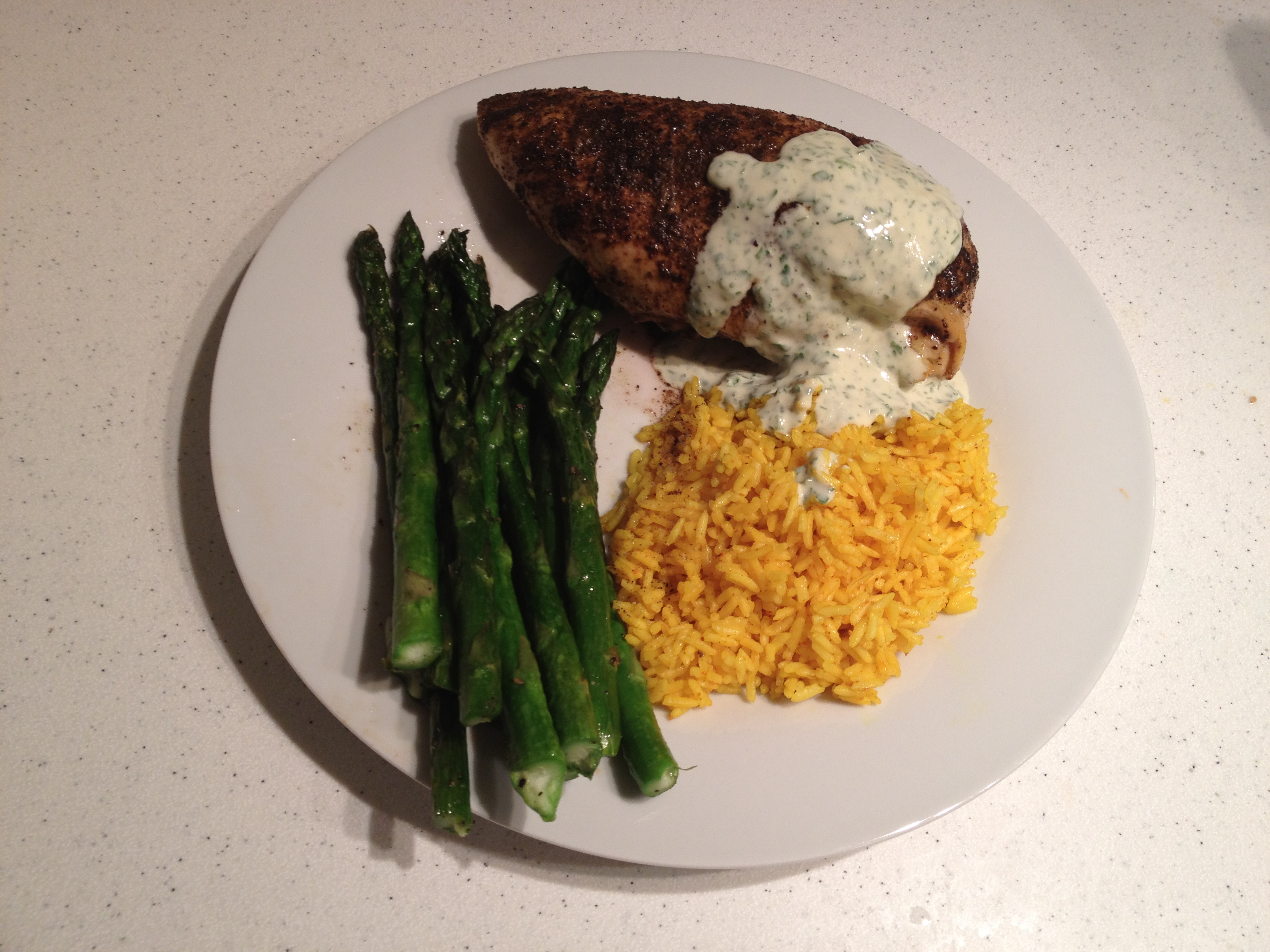 Sumac and cumin roasted chicken with a tahini and parsley sauce ...