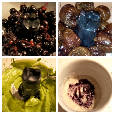 Roasted Blueberries. Reconstituted Prunes. Pureed Avocado. Rice Cereal with Blueberry Puree.