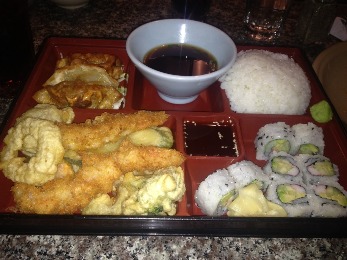tempura, california roll, and dumplings